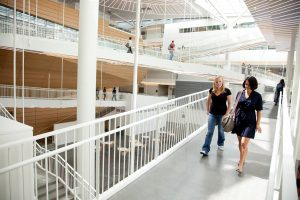 Students in Life Sciences Building