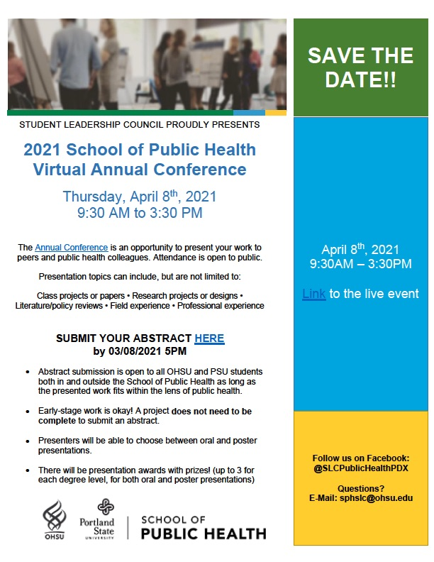 Flyer for 2021 Student Leadership Council Public Health Conference