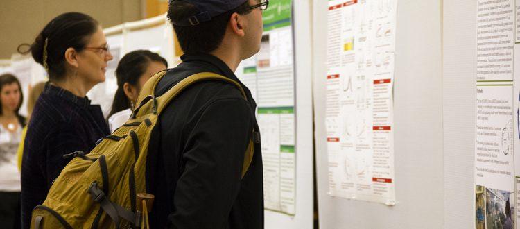 Students looking at poster presentation